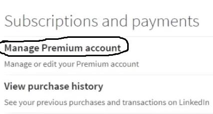 Manage premium account